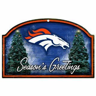 NFL Denver Broncos 11 by 17 Wood Sign Season's Greetings  Sports Fan Decorative Plaques  Sports & Outdoors