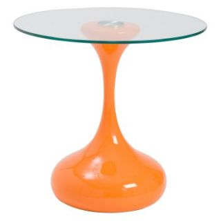 Euro Style Sheila Side Table   High Gloss Orange/Clear   End Tables