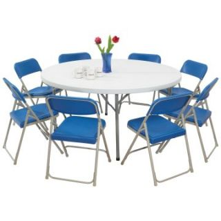NPS Blow Molded Round Table and Folding Chair 9 Pc. Set   Banquet Tables