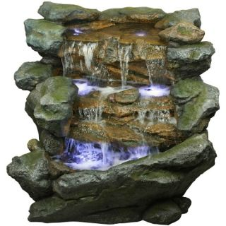 Yosemite Home Decor 40 in. Tiered Rock Outdoor Fountain   Fountains