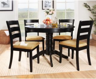 Tibalt 5 pc. Round Black Dining Table Set   42 in. with Ladder Back Chairs   Dining Table Sets