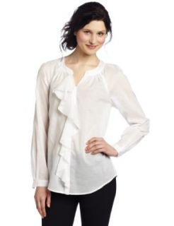 AK Anne Klein Women's Lawn Long Sleeve Ruffle Blouse, White, Medium
