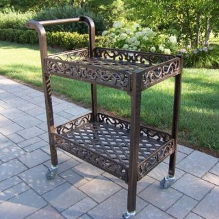 Oakland Living Mississippi Cast Aluminum Service Cart   Outdoor Serving Carts