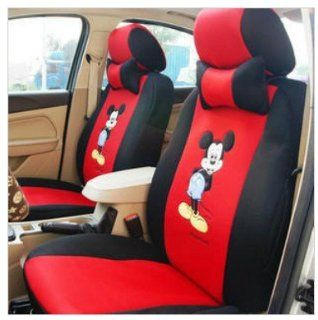 18pcs Mouse Cartoon Car Cushion, mickey Mouse Car Seat Covers, car Front Driver Seat Saddle Rearview Seat Cushion, car Accessories   Ropes