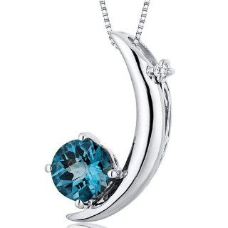 Crescent Moon Design 1.00 carats Round Checkerboard Cut Sterling Silver Rhodium Finish London Blue Topaz Pendant Peora Jewelry
