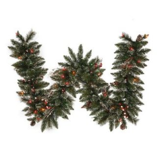 Vickerman 9 ft. Pre Lit Snow Tip Pine and Berry Garland   Multi Colored   Christmas Garland