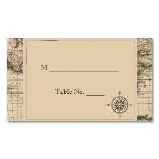Antique Old World Map Wedding Place Cards Business Card Template  Business Card Stock