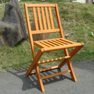 Bridgeport Natural Eucalyptus Wood Folding Side Chairs   Set of 2   Outdoor Dining Chairs
