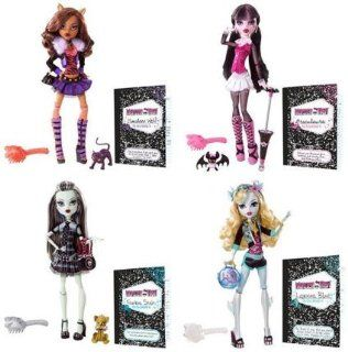 Monster High Series 1 Set of 4 Action Figure Dolls Draculaura, Frankie Stein, Lagoona Blue Clawdeen Wolf Toys & Games