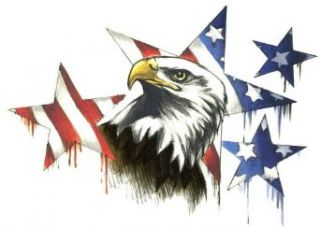 "American Eagle with Flag Stars Large Temporary Body Art Tattoos 7"" x 4.5"" Clothing"