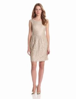 Tiana B Women's Boatneck Lace Dress, Taupe/Silver, 10