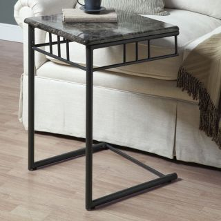 Monarch Square Metal Snack Table   Grey Marble / Charcoal   End Tables