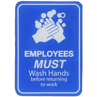 "Brady 103879 Acrylic Interior Decor Restroom Sign, 7"" X 5"", Legend ""Employees Must Wash Hands Before Returning To Work"" Industrial Warning Signs"