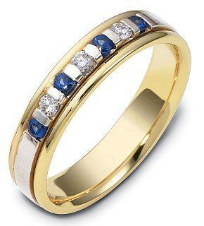 18 Karat Yellow Gold & Titanium 4.5mm Diamond & Sapphire Wedding Band Dora Rings Jewelry