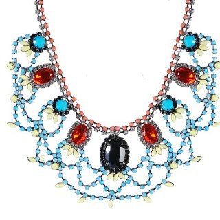 Jane Stone Stylish Sweet Style Rhinestone Embellished Oval shaped Necklace Charming Frontal Necklace Fabulous Jewelry Christmas Present(Fn0873 Mixed Color) Pendant Necklaces Jewelry