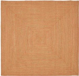 Safavieh Braided Collection BRD166A Peach and Green Braided Cotton Square Area Rug, 6 Feet Square (6 Feet Square)