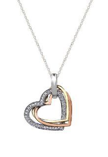 Effy Jewlery Moderna Tri Color Gold Diamond Heart Pendant, 0.18 TCW Effy Jewelry
