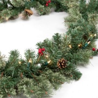Classic Pine 9 ft. Pre lit Garland with Berries and Pine Cones   Christmas Garland