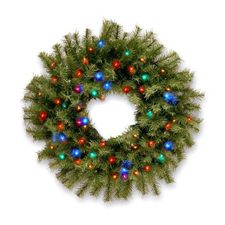 24 in. Norwood Fir Pre lit Battery Operated LED Wreath   Christmas Wreaths