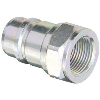 "Dixon Valve AG6F6 Steel Agricultural Push Pull Ball Valve Hydraulic Fitting, Nipple, 3/4"" Coupling x 3/4""   14 NPTF Female Thread Quick Connect Hose Fittings"