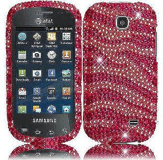 Hot Pink Zebra Stripe Bling Gem Jeweled Crystal Cover Case for Samsung Galaxy Appeal SGH I827 Cell Phones & Accessories
