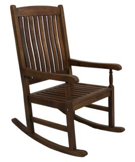 International Caravan Traditional Stained Acacia Wood Slat Rocking Chair   Outdoor Rocking Chairs