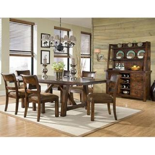 Woodland Ridge 7 Piece Trestle Dining Table Set   Dining Table Sets