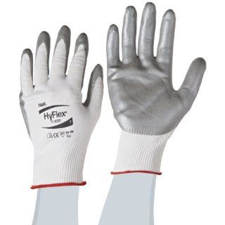 Ansell HyFlex 11 830 Nylon Light Duty Multipurpose Glove with Knitwrist, Abrasion/Cut Resistant, Size 7, White (Pack of 12 Pairs) Cut Resistant Safety Gloves