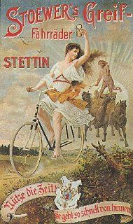 "STOEWER'S GREIF STETTIN GIRL RIDING A BICYCLE BIKE CYCLES 24"" X 36"" VINTAGE POSTER REPRO   Prints"