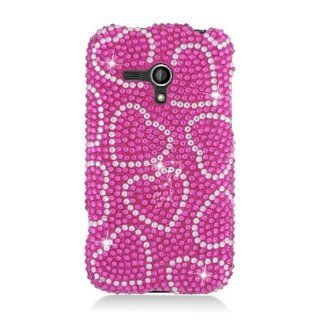 Samsung Galaxy Rush M830 SPH M830 Bling Gem Jeweled Jewel Crystal Diamond Cover Hot Pink Hearts Cover Case Cell Phones & Accessories