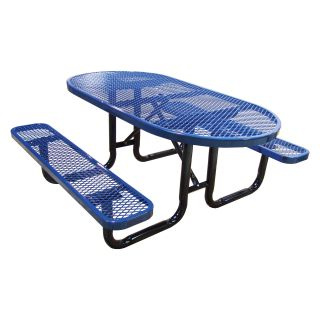 Oval Expanded Metal Commercial Grade Picnic Table   Picnic Tables