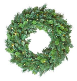 30 in. Pre Lit Deluxe White LED Evergreen Wreath   Christmas Wreaths