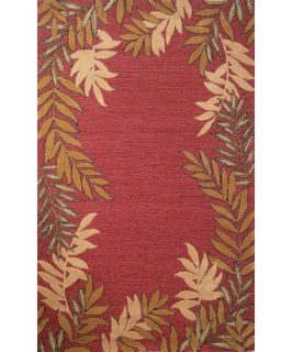 Trans Ocean Liora Manne Spello Fern Border Indoor/Outdoor Area Rug   Red   Area Rugs