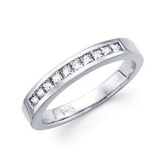 14k White Gold Diamond Wedding Matching Ring Band .40ct (G H Color, I1 Clarity) Jewelry
