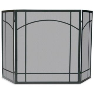 3 Fold Black Wrought Iron Mission Screen   Fireplace Screens