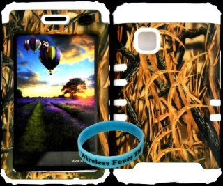 Premium Hybrid Cover Case Shredder Grass Camo Hard Plastic Snap on +White Soft Silicone For LG 840G LG840G TracFone/StraightTalk/Net 10 With Wireless Fones WristBand Cell Phones & Accessories