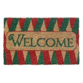 Welcome Ribbons Hand Woven Coir Doormat   Outdoor Doormats