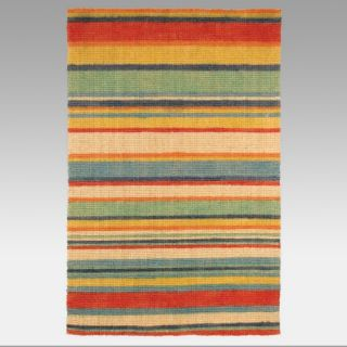 Hand Stenciled Coir Natural Outdoor Area Rug   Bright Stripe   Rugs