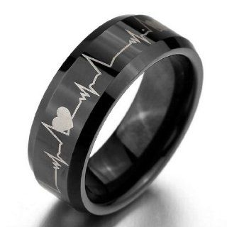 JBlue Jewelry Men's Wide 8mm Tungsten Ring Bands Black Heart Comfort Fit Valentine Love Couples Promise Wedding Engagement (with Gift Bag) Jewelry