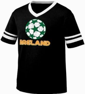 Ireland Soccer Mens Ringer T shirt, Irish Country Pride Football Design Men's V Neck Tee Shirt Clothing