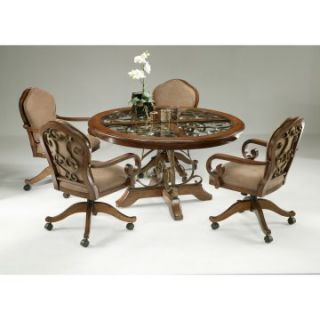 Pastel Carmel 5 piece Dining Table Set with Caster Chairs   Dining Table Sets