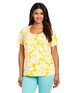 Jones New York Women's Plus Size Short Sleeve Leaf Print Scoop Neck Top, Freesia Yellow/White, 3X Fashion T Shirts