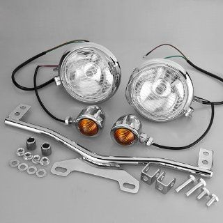 Stainless Steel Driving Passing Signal Spot Fog Light Bar Set for Honda VT 750 1100 VTX 1300 Shadow 1300 1800 GL Aero Spirit Custom Cruiser Automotive