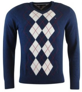 Tommy Hilfiger Mens Argyle V Neck Pullover Sweater   XS   Navy/White at  Men�s Clothing store