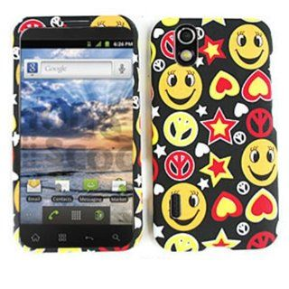 For LG Marquee LS855 Case Cover   Smiley Faces Peace Signs Stars Hearts Orange Yellow Black Rubberized TE413 Cell Phones & Accessories
