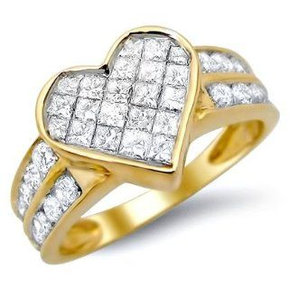1.0ct Princess Cut Heart Diamond Ring 14k Yellow Gold Engagement Rings Jewelry