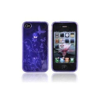 CLEAR PURPLE BUTTERFLY FLOWER Design Silicone Cover Protector Case Made of High Quality Durable Plastic Material Perfect fit for Apple Iphone 4 / 4S Provides Great Protection from Scratch and Scrape No Tools Needed or Instructions to Install Cell Phones &