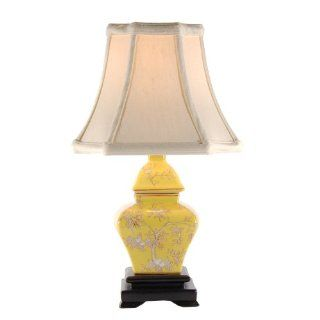 Small Yellow Square Porcelain Accent Table Lamp