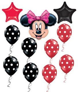 Minnie Mouse Red & Black Polka Dots Star Mylar Balloons Party Set 9ct Health & Personal Care