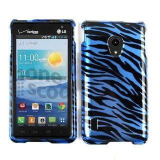 ACCESSORY HARD SNAP ON CASE COVER FOR LG LUCID 2 VS870 GLOSS BLUE BLACK ZEBRA Cell Phones & Accessories